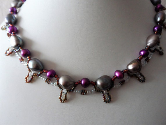 Peacock and Purple Pearl Necklace with Crystal Seed Beads, Gift for Her, Mothers Day,  Healing Crystal, June Birthstone