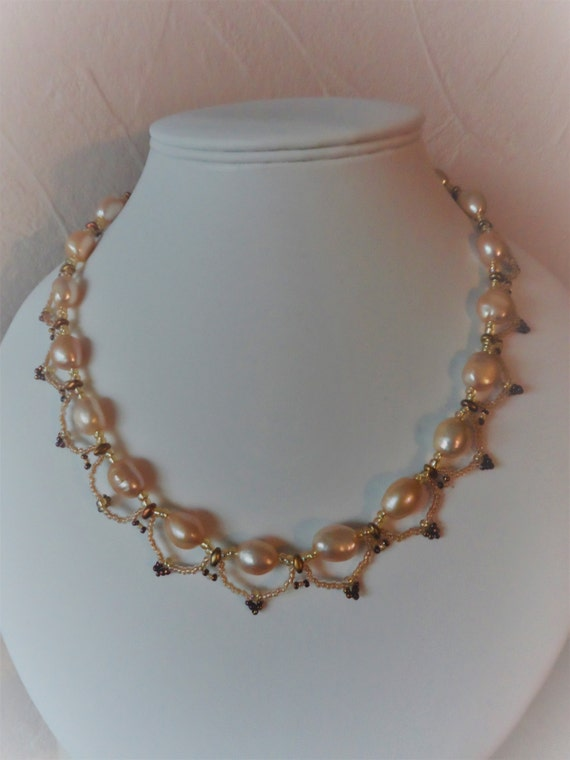 Peach Pearl with Gold and Bronze Seed Beads Necklace and Earring Set + Gold Plated 925 Silver