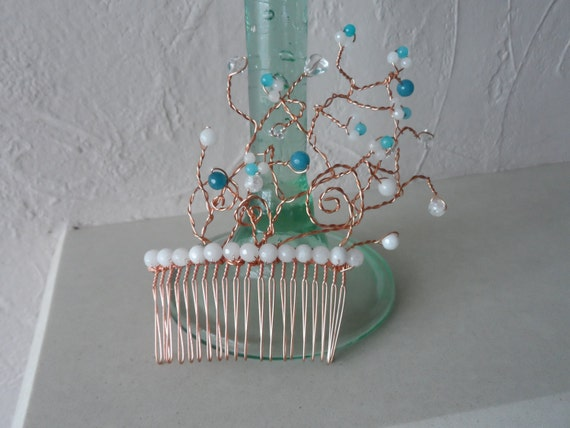 Rose Gold Hair Comb with Turquoise, White and Clear Quartz Stones