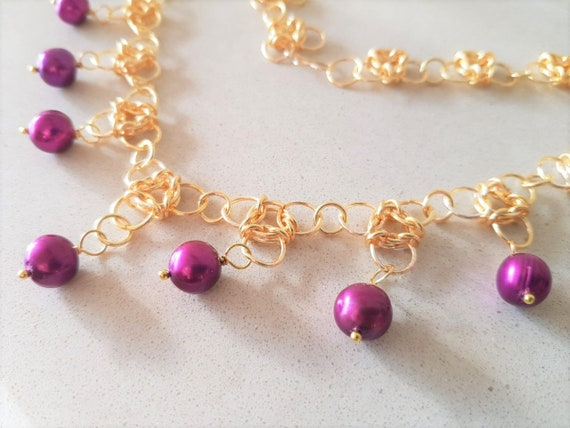 Gold Aura Chain Mail Necklace with Freshwater Purple Pearl Drops