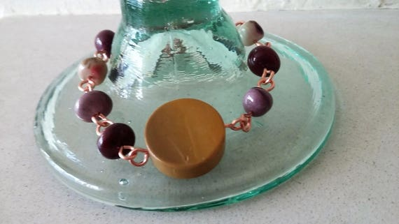 Mookite Rosary Linked Copper Bracelet, Gift for Her, Mothers Day,  Healing Crystal,