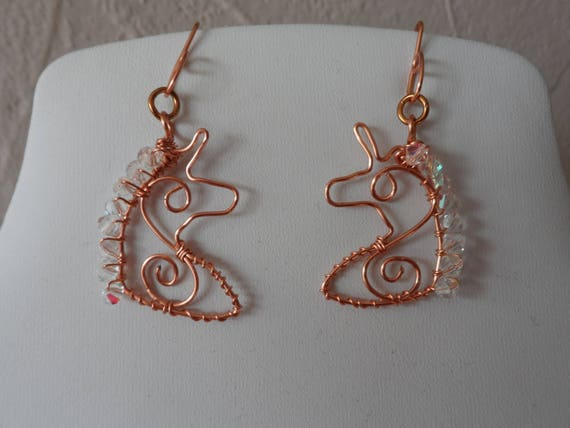 Handmade Copper Wire Unicorn Earrings with Crystals