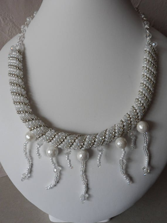 Pearl, Crystal and Silver Seed Bead Statement Necklace, Gift for Her, Mothers Day,  Healing Crystal, Wedding, Bridesmaid