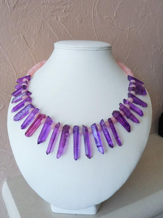 Purple And Rose Quartz Silver Necklace