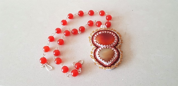 Orange Double Agate Beaded Pendent with Orange Quartz Rosary Linked Neckece