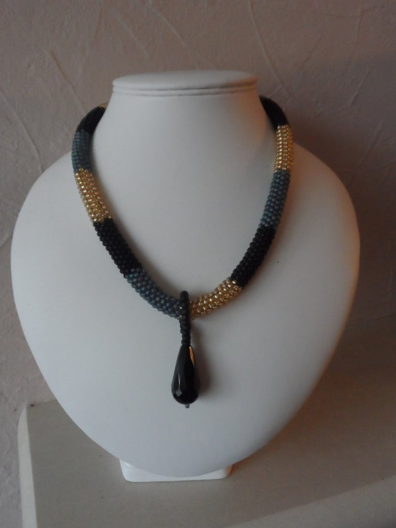 Seed Bead Rope Style Necklace with  Detachable Onyx Pendent, Gift for Her, Mothers Day,  Healing Crystal