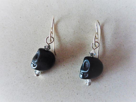 Black Magnestite Skull Earrings