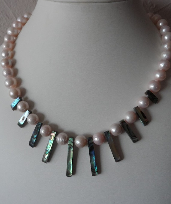 Pale Pink Cultured Pearl with Abalone  and 925 Clasp,Gift for Her, Mothers Day,  Healing Crystal, Wedding, Bridesmaid, June Birthstone