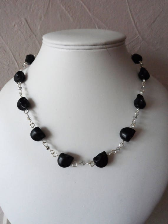 Black Magnesite Skull and Silver Crystal Rosary Linked Neckalce,Gift for Her, Mothers Day,  Healing Crystal