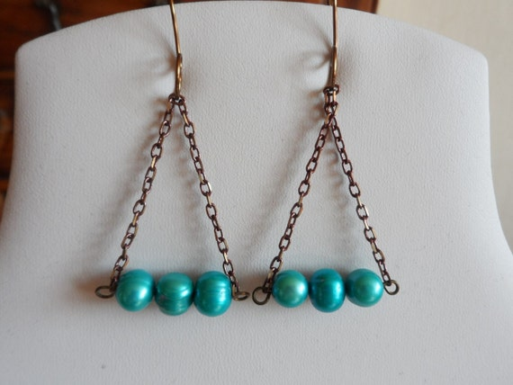Blue Cultured Pearl Drop Earrings, Gift for Her, Mothers Day,  Healing Crystal, June Birthstone