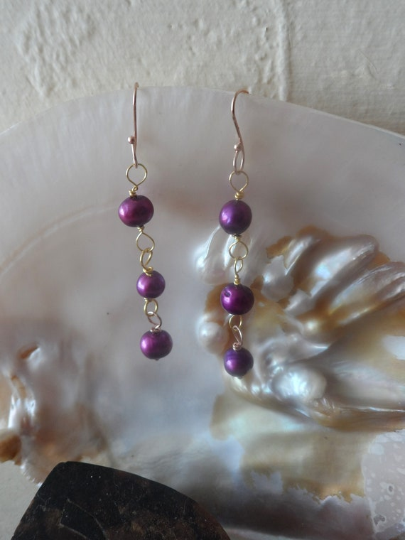 Purple and Gold Drop Pearl Earrings, June Birthstone, Healing Crystal, Gift For Her, Mothers Day