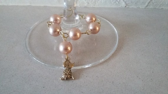 Cream Pearl Wine Glass Charm Rosary Linked with Gold Wire and a Gold Coloured Cute Dog Charm, gift  for her, wedding