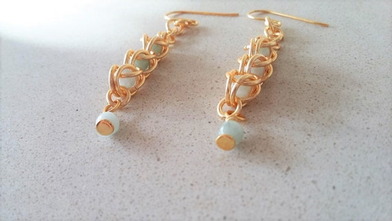 Gold and Green Jade Chain Maille Earrings