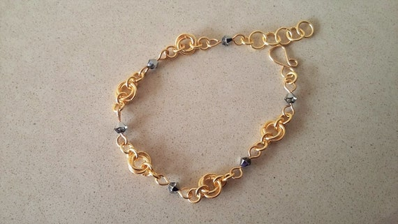 Champagne Gold Chain Maille Bracelet with Black Swarovski Crystals