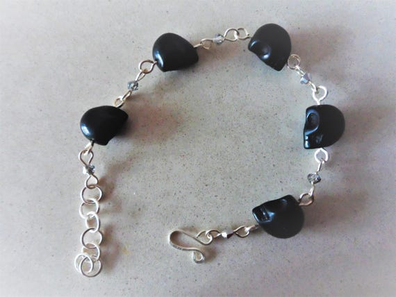 Black Magnesite Skull Rosary Linked Bracelet with Silver Crystals