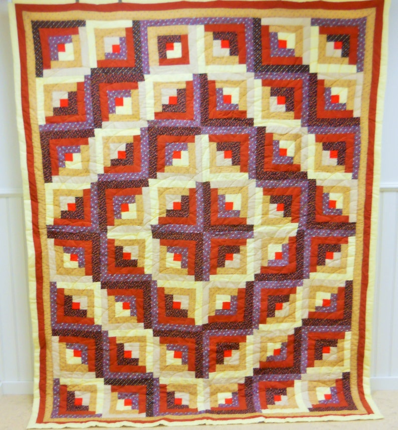 Never Used Condition Kentucky Log Cabin Barn Raising Quilt With Provenance