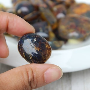 Blue Amber Natural Genuine Dominican Oval Cabochon 5.72 Grams