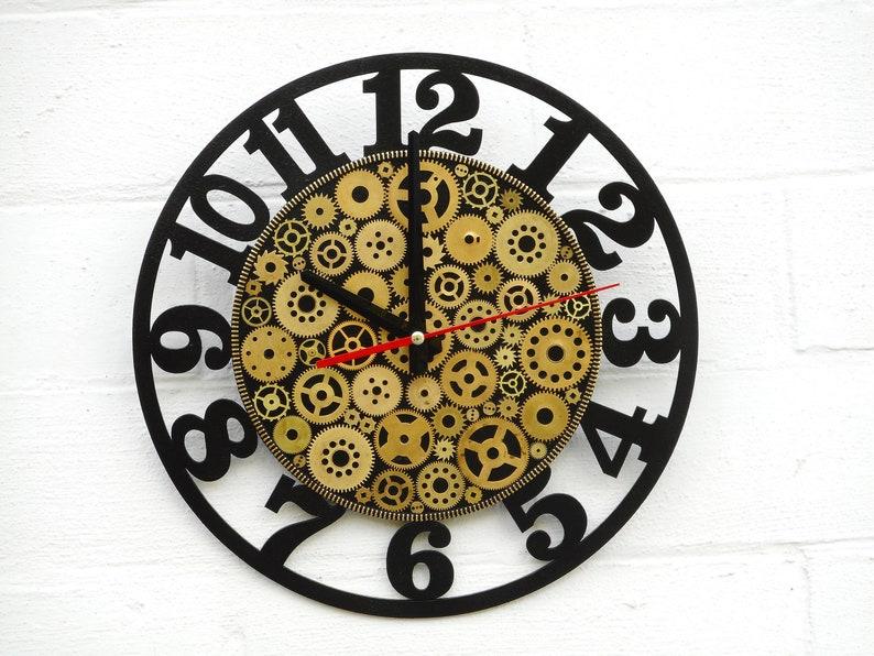 Horloge de mur steampunk avec des nombres silencieuse horloge horloge noire horloge pour le mur