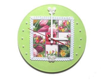 Unique wall clock flower print modern wall clocks flower art clock Easter gift for mom tulips flower clock pink flowers clock green clock