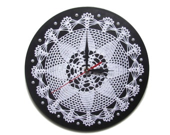 Wall clock unique wall clocks crochet wall decor modern wall clocks Christmas gift art clock black white wall art snowflake large wall clock