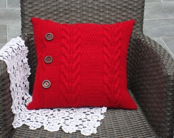 red throw pillow knit pillow cover sofa cushion knitted pillow case 18x18 sham ottoman pillow living room decorative accent pillow for couch