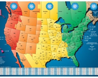 Laminated usa map etsy north america laminated gloss full color time zone area code map incudes reverse lookup desk size large 11 x 17 gumiabroncs Image collections