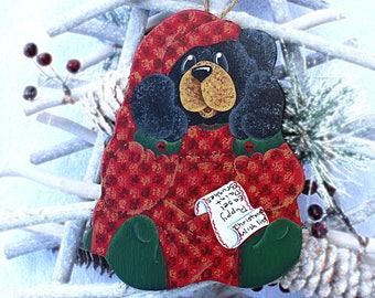 black bear ornament 4drg christmas ornaments bear decorations whimsical animal art decorative painting tree decor wood ornaments - Black Bear Christmas Decor