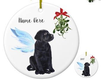 black lab angel black lab ornament labrador angel ornament black lab memorial black lab christmas ornament - Black Lab Christmas Ornament