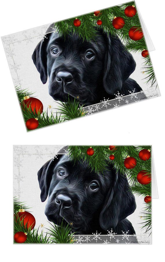 Black Lab Cards 10KHHMC Holiday Cards Labrador Christmas | Etsy