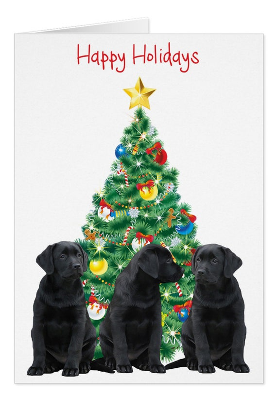 Black Lab Holiday Card H10BLCAR Labrador Christmas Cards | Etsy