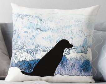 Black Lab Pillow 23UAMTP - Labrador Pillow - Throw Pillow - Black Lab Decor - Black Lab Gifts - Lab Pillow - Dog Pillow - Black Lab Art