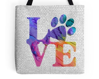 Love Paw Print Tote Bag - Dog Lover Gifts 3P - Dog Tote Bag - Cat Lover Gift - Paw Print - Cat Tote Bag - Gifts for Dog Lovers -