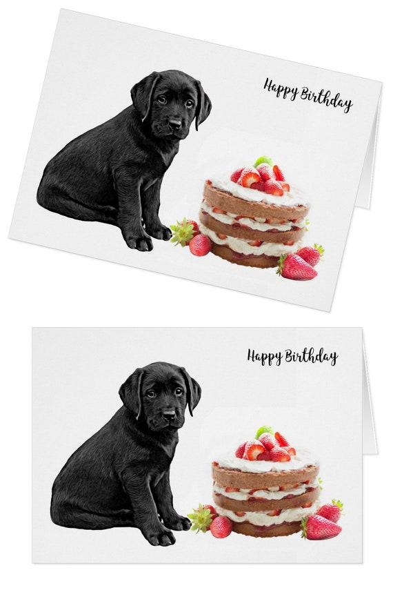 PERSONALISED LABRADOR DOG CAKE BIRTHDAY CARD Illustrated Insert