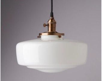 Other Collectible Elec. Lamps Vintage Industrial Pendant Light With Milk Glass Shade Made In The Usa!