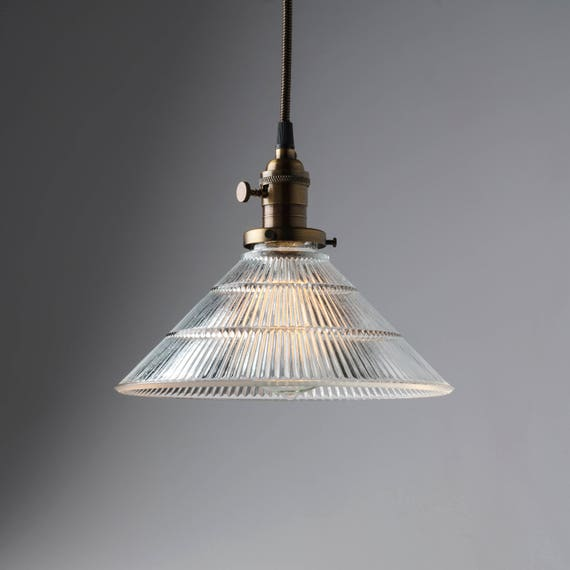 Pendant Light Fixture Clear Glass 10 Ribbed Glass Cone Shade
