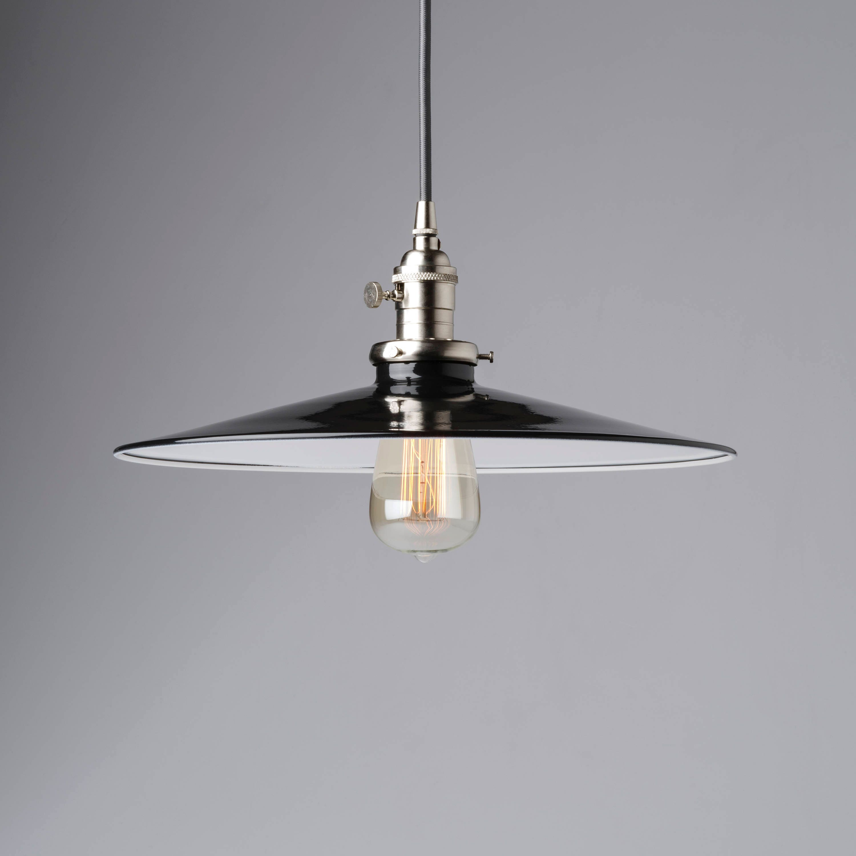 14 Flat Black Pendant Light Fixture Metal Porcelain