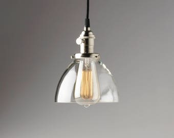 """Clearance, Factory 2nds  * Hanging Light with 6"""" Clear Glass Dome Shade Pendant Fixture"""