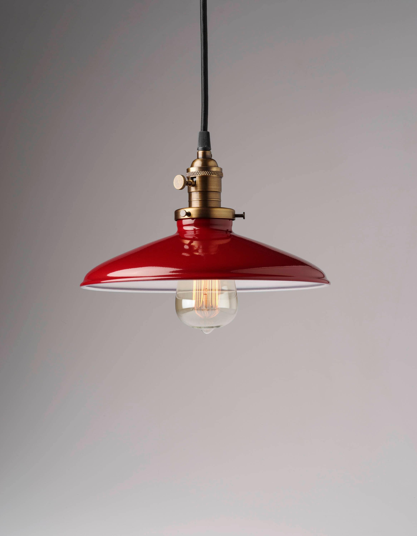 Industrial Style Red Porcelain Enamel 10 Pendant Light | Etsy