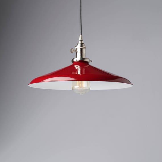 Pendant Light Fixture Red 14 Metal Porcelain Enamel
