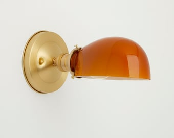 Vanity  Wall Sconce Lighting - Yellow  glass shade - Amber light fixture