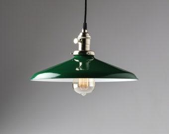 "Pendant Lighting with Green Porcelain Enamel Shade 12"" Metal Shade"