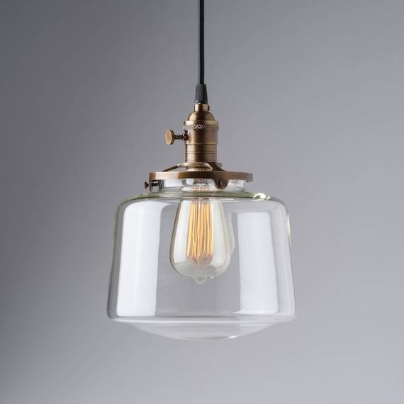 Schulhaus Leuchte Globe klar Glas Drum Anhänger Licht | Etsy