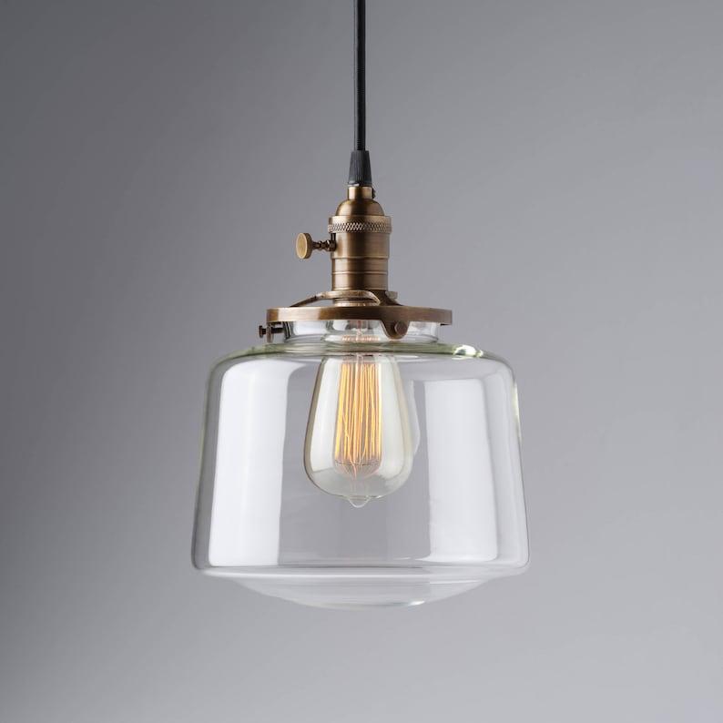 SchoolHouse Pendant Fixture Globe Clear Glass Drum Pendant Light