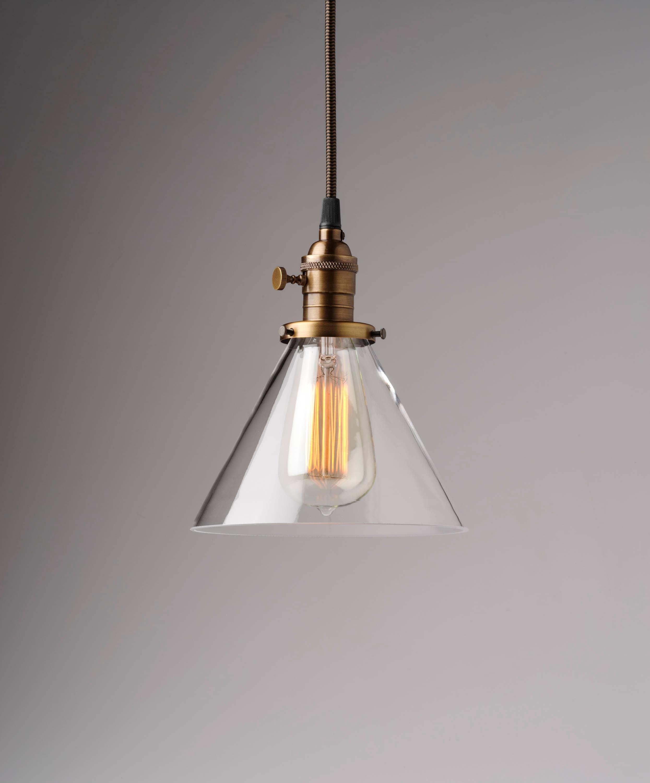 Pendant Light 7 Clear Glass Cone Fixture Vintage