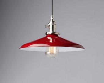 "Pendant Light Fixture Red 14"" Metal Porcelain Enamel Vintage Industrial Light Fixture"