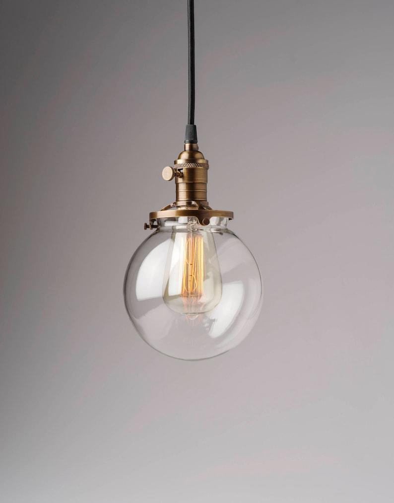 Round glass vintage industrial pendant light fixture 6 glass globe
