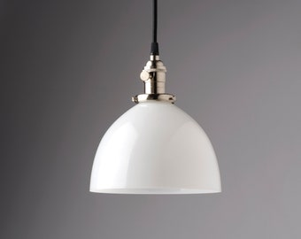 """Factory 2nds, Clearance  * Milk/White Glass Pendant Light Fixture 8"""" Glass Dome  **handblown glass made in america**"""