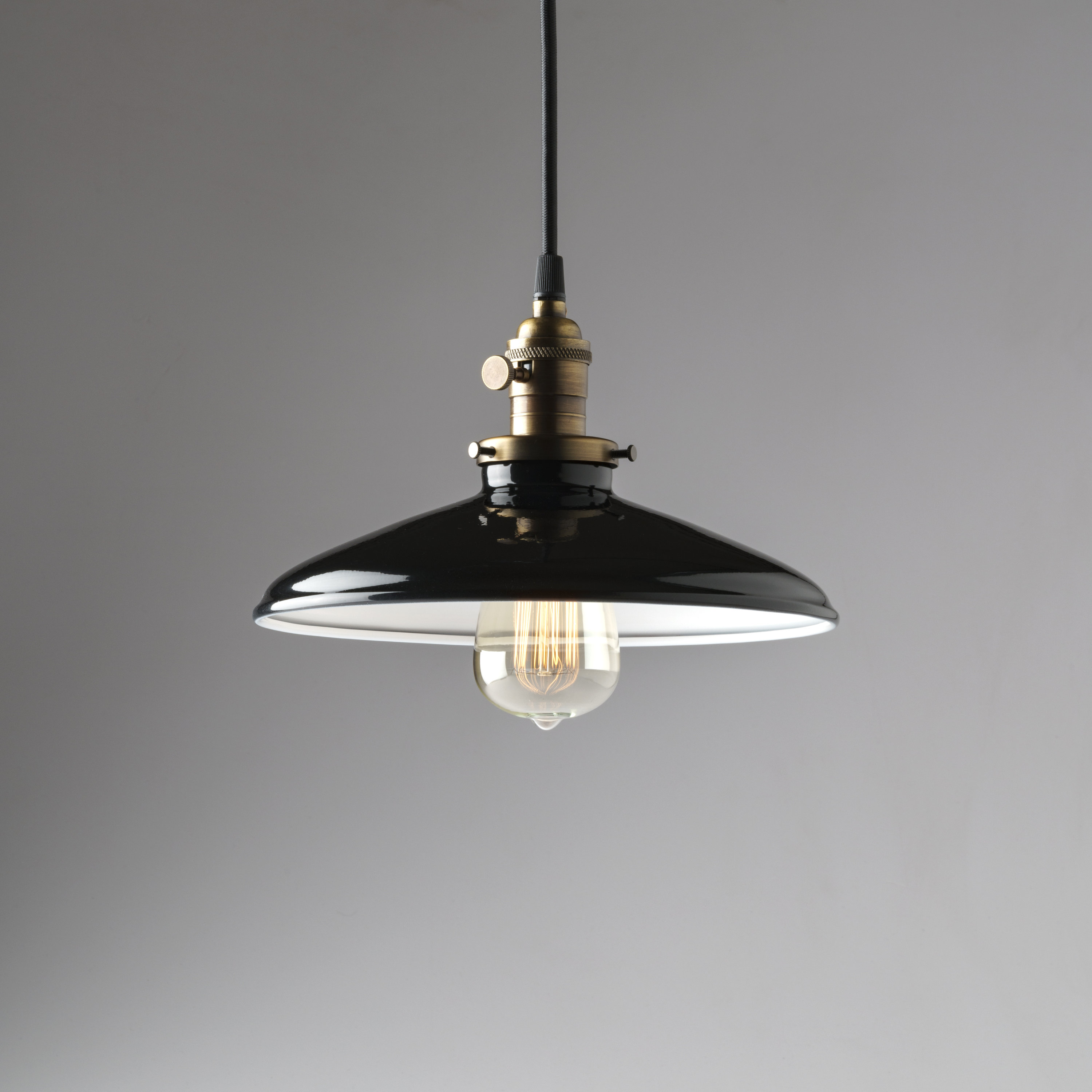 Pendant Light Fixture Black Porcelain Enamel Metal 10