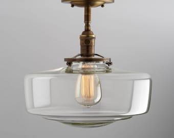 Schoolhouse Large Clear Glass Shade Flush Mount or Semi Flush Mount Fixture
