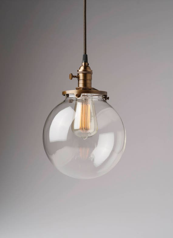 globe pendant light fixture hanging image clear glass globe pendant light fixture with shade etsy